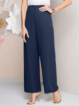 Alex Evenings Special Occasion Chiffon Pull-On Pants