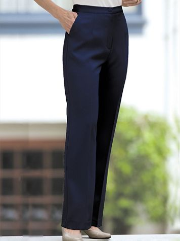 Herringbone Straight Leg Zip-Front Pants - Image 1 of 8