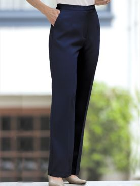 Herringbone Straight Leg Zip-Front Pants