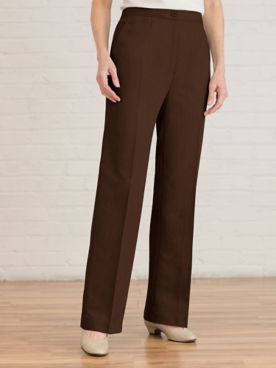Washable Wool Straight Leg Zip-Front Pants