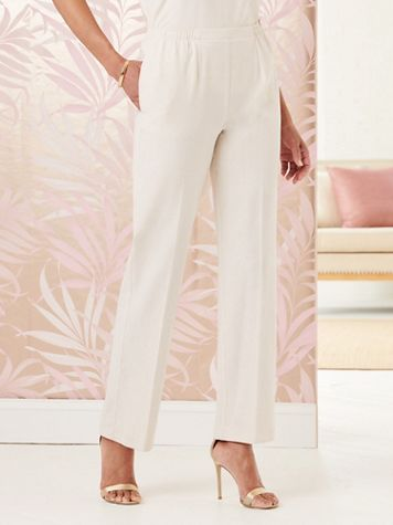 Look-of-Linen Straight Leg Pull-On Pants - Image 1 of 16