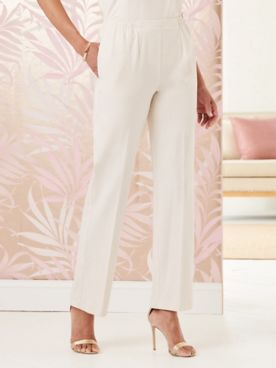 Look-of-Linen Straight Leg Pull-On Pants