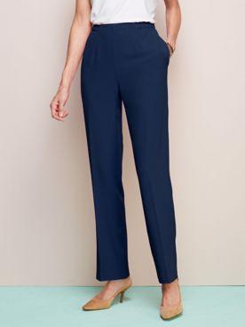 Look-of-Linen Straight Leg Pull-On Pants