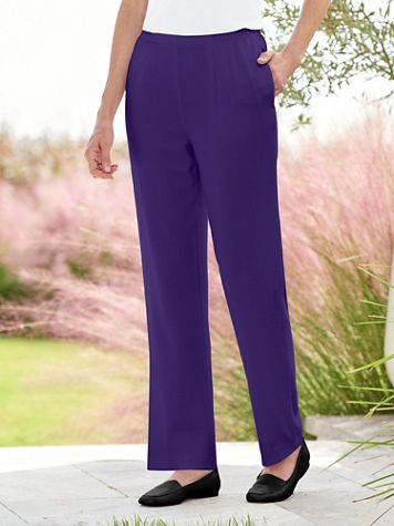 Look-of-Linen Straight Leg Pull-On Pants - Image 1 of 10