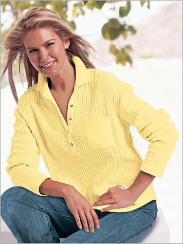 Together Cable Knit Long Sleeve Polo - Image 0 of 1
