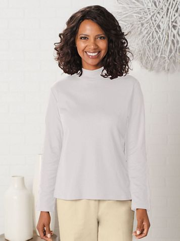 Basic Mock Neck Cotton Poly Long Sleeve Tee - Image 1 of 17