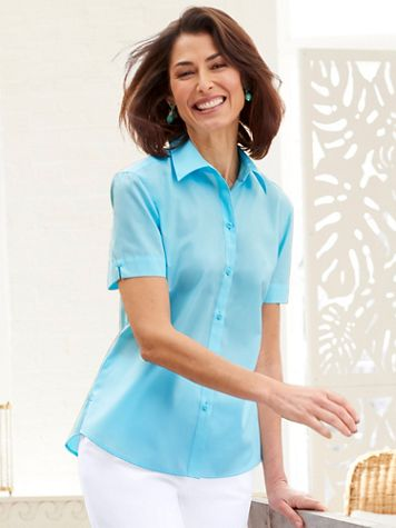 Foxcroft Wrinkle-Free Short Sleeve Camp Shirt - Image 1 of 7