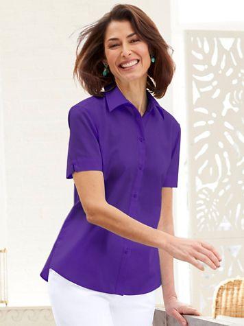 Foxcroft Wrinkle-Free Short Sleeve Camp Shirt - Image 1 of 6