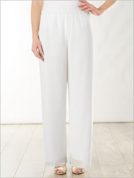 Alex Evenings Chiffon Lined Special Occasion Pull-On Pants