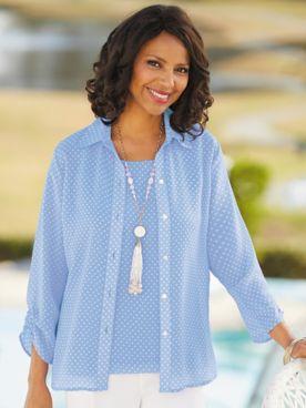 Chiffon Dot Print 3/4 Sleeve Shirt