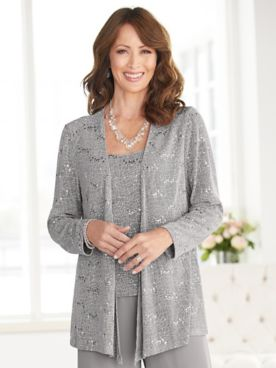 Alex Evenings Supple Sparkle Special Occasion Knit Twin Set