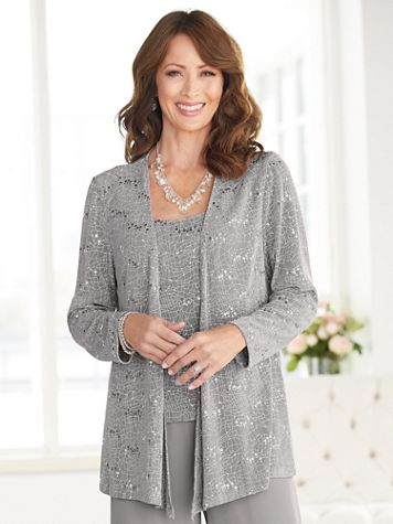 Alex Evenings Supple Sparkle Special Occasion Knit Twin Set - Image 2 of 2
