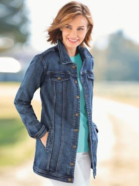 Long Knit Denim Jean Jacket