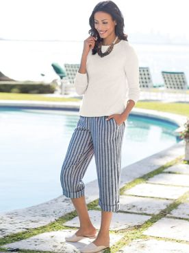 Women's Admiral Stripe Capri Pants
