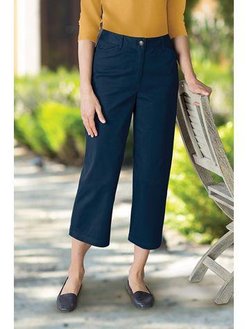 Women's Wide Leg Stretch Twill Crops - Image 1 of 5