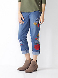 Women's SlimSation Embroidered Cropped Jeans