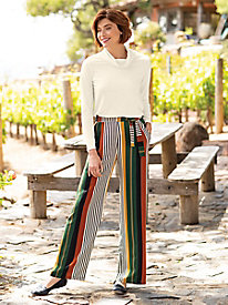 Women's Stripe Tie Waist Wide Leg Pants