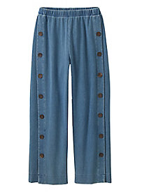 Women's Sahara Side Button Knit Denim Pants