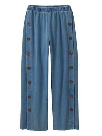 Women's Sahara Side Button Knit Denim Pants - Image 4 of 4