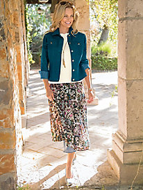 Women's Floral-to-Geo Reversible Skirt