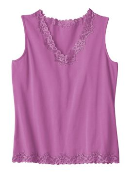 Women's Prima Cotton Lace-Trimmed Tank
