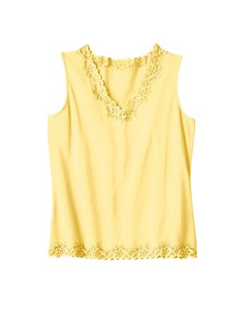 Women's Prima Cotton Lace-Trimmed Tank - Image 1 of 1