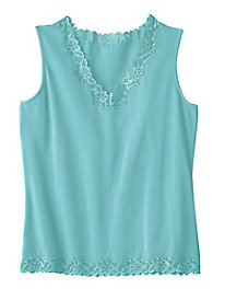 Women's Prima Cotton Lace-Trimmed Tank by Appleseed's