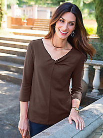 Women's Ruched Twist V-Neck Tunic