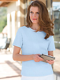 Women's Short-Sleeve Crinkle Knit Top