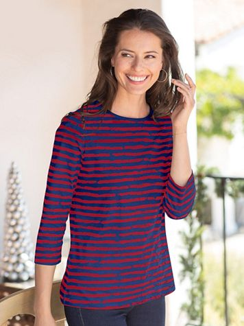 Prima Cotton Painted Stripe Tee - Image 1 of 13