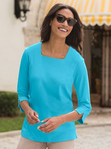 Square-Neck Cotton-Blend Knit Top - Image 1 of 24