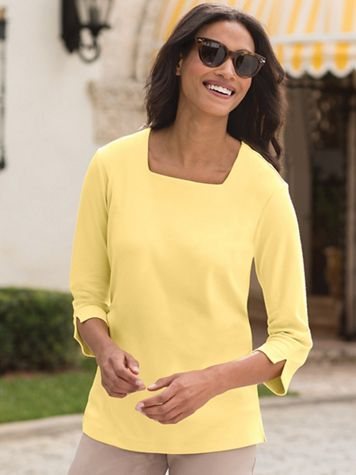 Square-Neck Cotton-Blend Knit Top - Image 1 of 11
