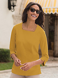 Square-Neck Knit Top