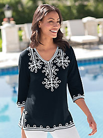 Woman's Soutache Embroidered Knit Tunic