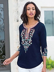Women's Boho Floral Embroidered Cotton Tunic
