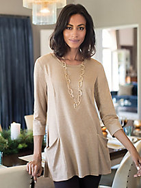 Women's Soft Glow Metallic Knit Tunic