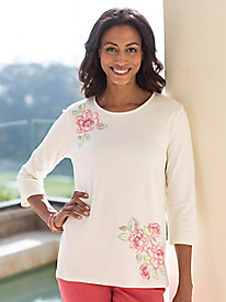 Women's Embroidery Floral Tee