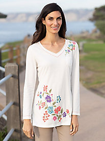 Women's Floral Embroidered V Neck Tunic