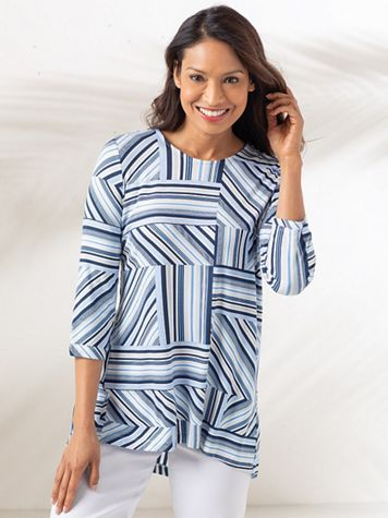 Three Quarter Sleeve Striped Knit Top - Image 1 of 2