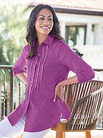 Women's Solid Pintuck Big Shirt