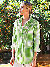 Women's Gingham Pintuck Big Shirt