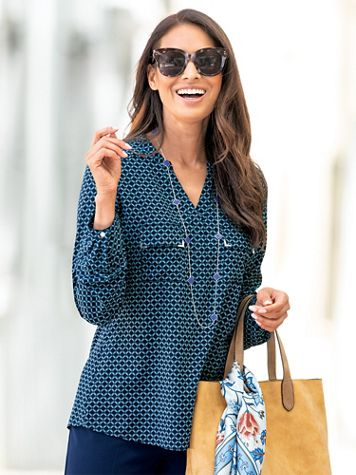 Silky Print Long-Sleeve Utility Blouse - Image 1 of 9