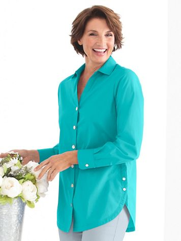 Women's Foxcroft Wrinkle-Free Side-Button Long-Sleeve Tunic - Image 1 of 22