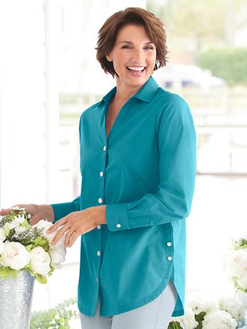 Women's Foxcroft Wrinkle-Free Side-Button Long-Sleeve Tunic - Image 1 of 19
