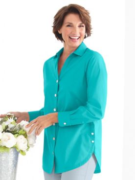 Women's Foxcroft Wrinkle-Free Side-Button Long-Sleeve Tunic