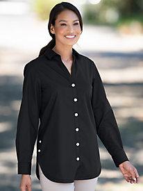 Women's Foxcroft Wrinkle-Free Side-Button Long-Sleeve Tunic