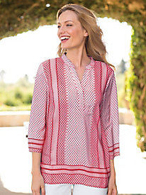 Women's Diamond Border Print Popover