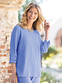 Women's Sienna Crinkle Ruched Button Sleeve Top