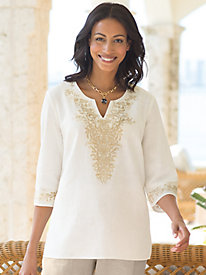 Women's Singular Sensations V-Neck Embroidered Tunic