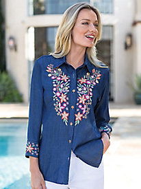 Women's Floral-Embroidered Denim Tunic